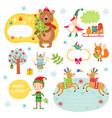 christmas sticker and elements vector image