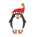color crayon stripe cartoon of penguin with boots vector image vector image