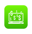 computer monitor and dollar signs icon digital vector image vector image