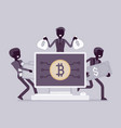 cryptocurrency wealth black silhouette vector image