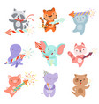 cute animal characters with party poppers set vector image vector image