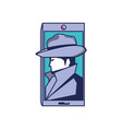 cyber security agent in smartphone device vector image vector image