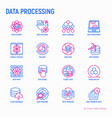 data processing thin line icons set vector image vector image