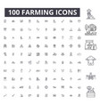 farming editable line icons 100 set vector image vector image