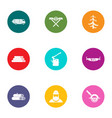 forest area icons set flat style vector image vector image