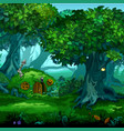 forest of magic moving trees cartoon vector image vector image