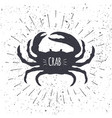 hand drawn crab icon in black and white color with vector image vector image