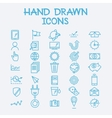 Hand drawn line icons business management company vector image