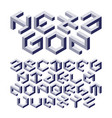 hexagon alphabet made of impossible shapes with vector image vector image