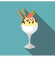 Ice cream in vase icon flat style vector image vector image
