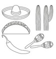 line art black and white 5 mexican elements vector image