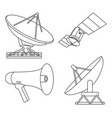 line art black white 4 telecommunication elements vector image vector image