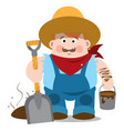 man in overalls and hat guy with a shovel and vector image
