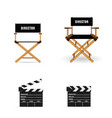 movie clapper and director chair vector image