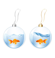 New Year Balls With Fishes In Water vector image vector image