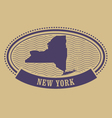 Oval stamp with New York state map contour vector image vector image