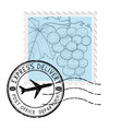 postal stamp with grapes and round postmark vector image