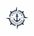 retro anchor with compass stamp badge emblem logo vector image