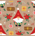 seamless pattern with christmas gnome and gifts vector image vector image