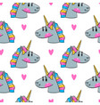 seamless pattern with rainbow unicorn heads vector image vector image