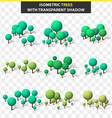 Set 3D trees in isometry and transparent shadow vector image vector image