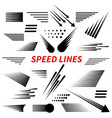 set different simple black speed line vector image vector image