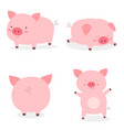 set fat little cute pigsyear pig vector image vector image
