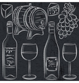 set of glases and bottles for wine on blackboard vector image