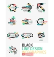 Set of minimal line design office web infographics vector image vector image