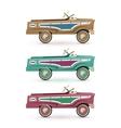 set three vintage toy pedal car vector image vector image