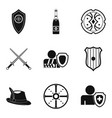 shield icons set simple style vector image