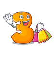 shopping cartoon number three on the wall vector image