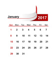 simple calendar 2017 year january month vector image vector image