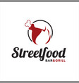 simple meat grill logo and bar design template vector image vector image