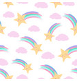 smiling shooting stars and fluffy clouds white vector image vector image