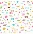 summer sea seamless pattern with fishes anchors vector image vector image