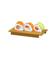 sushi rolls with different ingredients on wooden vector image