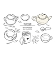 tea set on white background vector image vector image