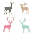 Various silhouettes of deer vector image vector image