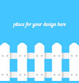 white fence on blue background vector image