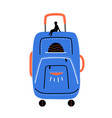 with small man silhouette on huge suitcase vector image
