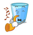 with trumpet water glass isolated on the mascot vector image