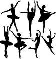 Ballet female dancers silhouettes vector | Price: 1 Credit (USD $1)