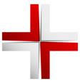 bright cross x sign icon - generic 3d design vector image
