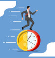 businessman is running on dollar coin clock vector image