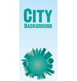 card of buildings on world in turquoise vector image vector image
