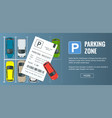 cars in the parking lot and parking tickets vector image vector image