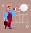 cartoon builder holding megaphone making vector image vector image