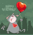 cartoon cat with a balloon heart happy birthday vector image vector image
