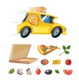 cartoon picture pizza delivery yellow car vector image vector image